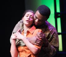 Student actor embracing